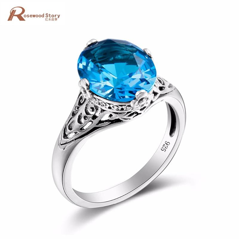 Romantic Anniverasry Handmade Ring Moonlight Blue Crystal Ring For Women Soild 925 Sterling Silver Vintage Wedding Jewelry