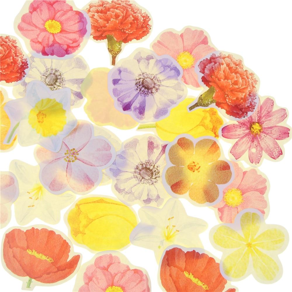 coloffice 45pcs/box creative flower stickers seal paste diy diary