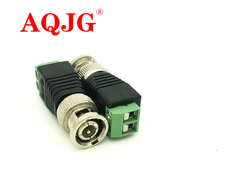 2x Coax CAT5 BNC Male Connector Plug DC Adapter Balun Connector for CCTV Camera Security System Surveillance Accessories