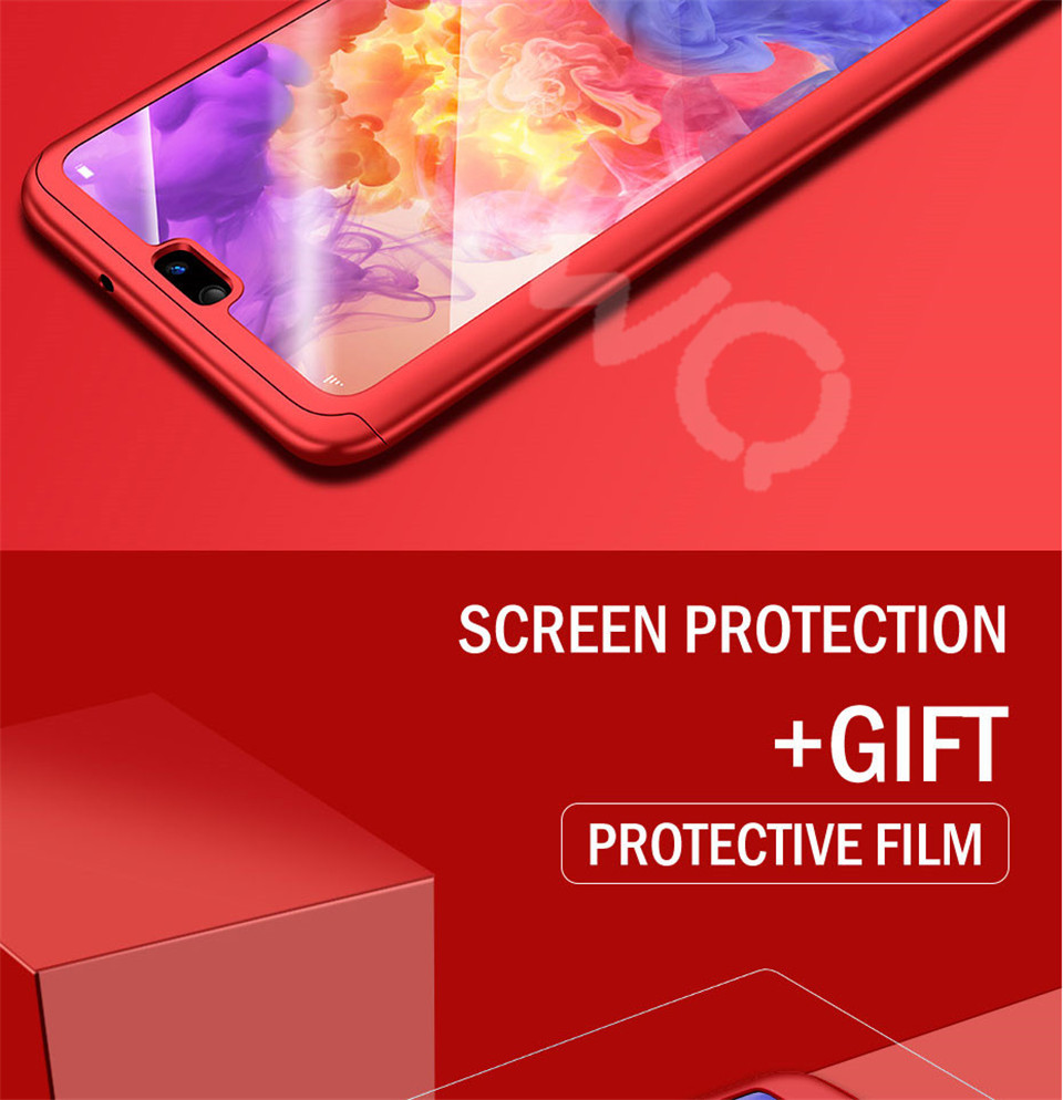 360 Degree Full Protective Phone Case For Huawei P20  P20 Lite P20 Pro Cover Case For Huawei P20 Lite P10 P10 Lite P10 Plus Mate 10 Lite Mate 10 Pro Matte Shell Tempered Glass 8