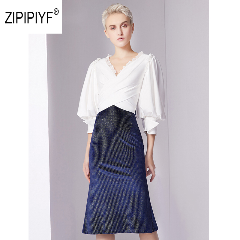 Original Zipipiyf Business Dress Womens Sexy Criss cross V neck Lantern Sleeves patchwork fake two Party