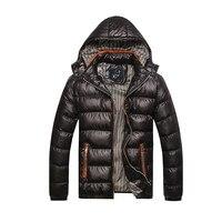 Nouvelle Hommes Veste D'hiver De Mode À Capuchon Thermique Vers Le Bas Coton Parkas Casual Male Hoodies Marque Vêtements Manteau Chaud 4XL