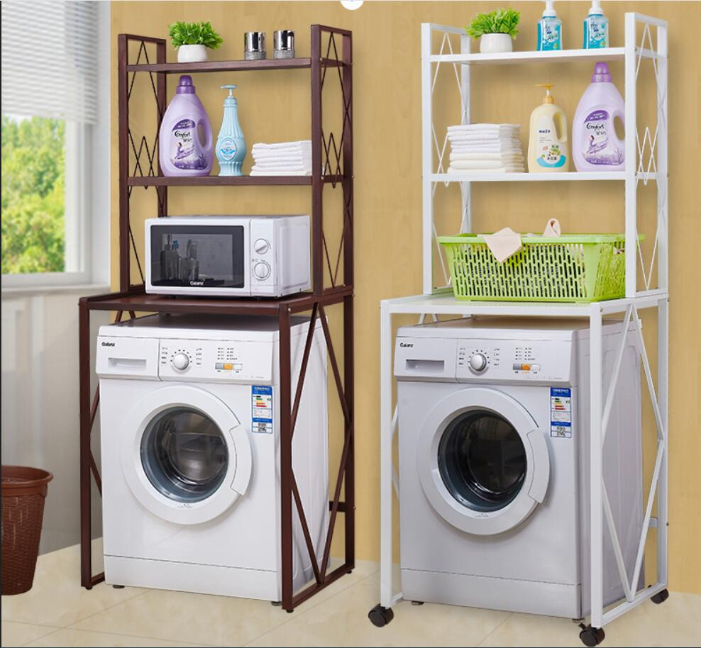 Strong Washing Machine & Microwave Oven Strage Rack Brown, White Color