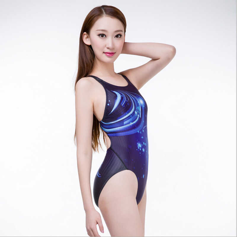 28ace10c03bc4 2018 School Bathing Suit Swimming Female Professional One Piece Swimsuit  Gradient Bodysuit Sexy Backless Women Sport