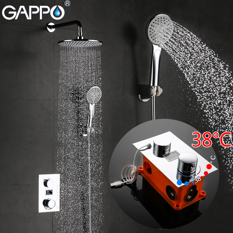 GAPPO bathtub faucet water thermostat shower Chrome in-wall LCD Digital Display thermostatic mixer taps Torneira de chuveiro water heater wall mounted two handle thermostatic shower faucet thermostatic mixer for shower exposed shower faucets chrome