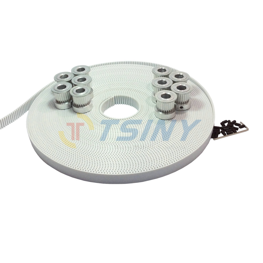 HTD 3M Timing Belt Pulley 22 Teeth Bore 6mm 8mm 10pcs + 10 Meters White PU Open Ended Timing Belt Pitch 3mm Width 15mm htd 3m timing belt 10 meters open ended rubber belt