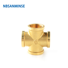 NBSANMINSE 10pcs/lot SM1005 3/8 1/2 Female Cross Connector For Water Heating Copper Joint Fitting