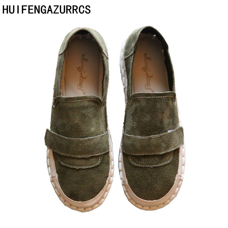 HUIFENGAZURRCS-New Summer and Autumn leisure leather platform shoes round shoes breathable slip-on the retro art mori girl shoes