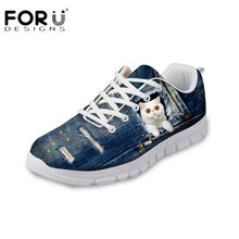 FORUDESIGNS Newest Student Flats Casual Blue Denim Cat Dog Women s  Comfortable Mesh Sneakers for Ladies Light Weight Shoes Mujer e0175517940a