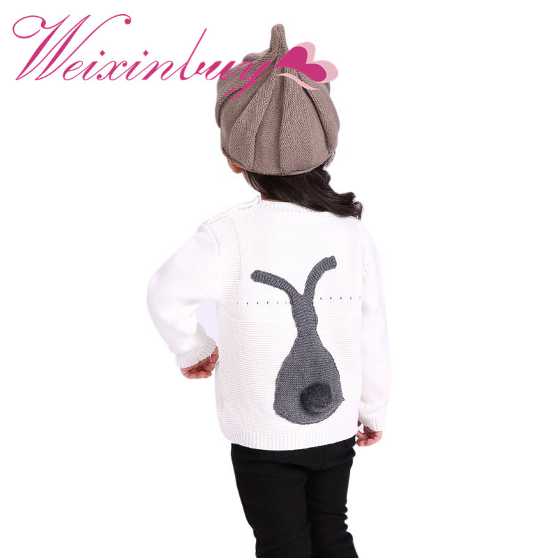 WEIXINBUY Winter Autumn Kids Long Sleeve O-neck Print Baby Boys Girls Sweater Toddler Girls Jumper Knitwear Rabbit