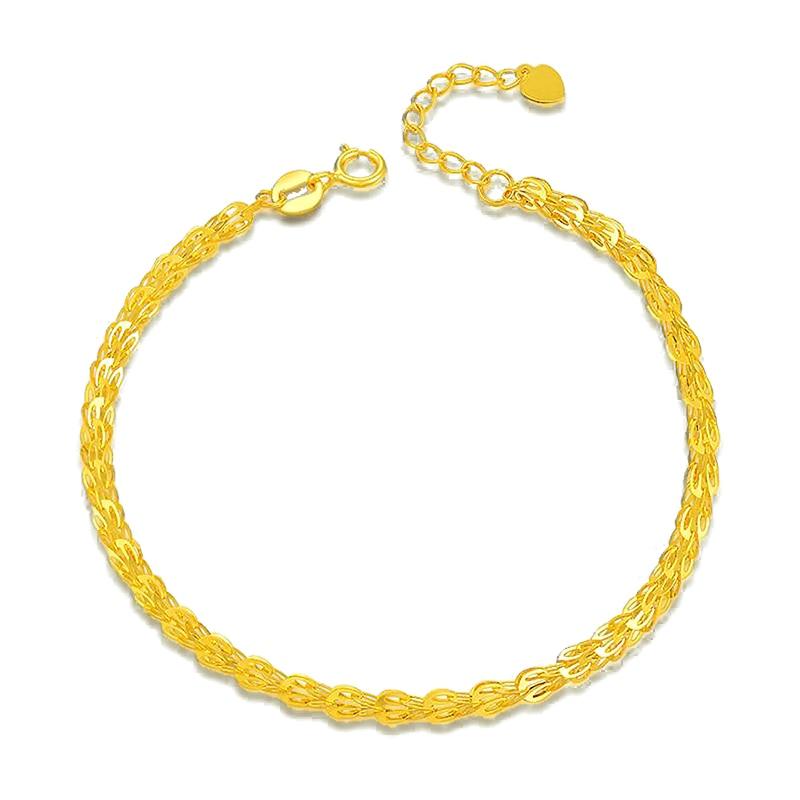 Trendy 18k yello gold or rose gold link bracelet for office career Women Mum girls wedding party birthday gift yello yello flag