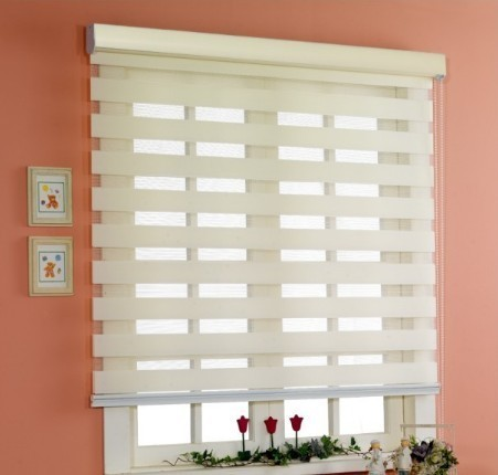 Por Zebra Blinds Finished Product Double Layer Roller Curtains For Window Treatments Louver Venetian
