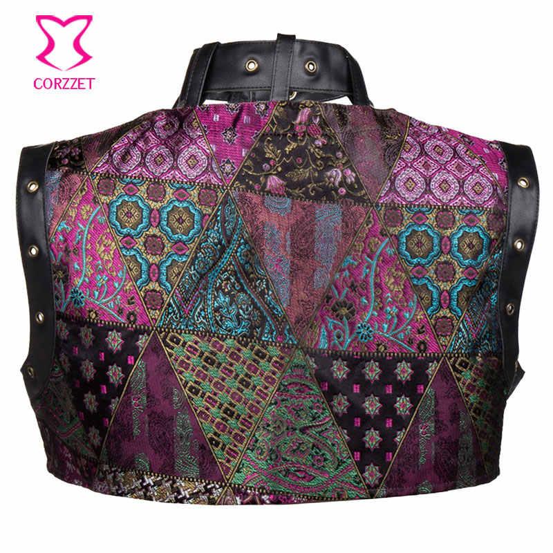 Плюс Размеры фиолетовый парчи и Искусственная Кожа стимпанк куртка Для женщин Болеро Готический Костюмы Винтаж корсеты и бюстье Интимные аксессуары