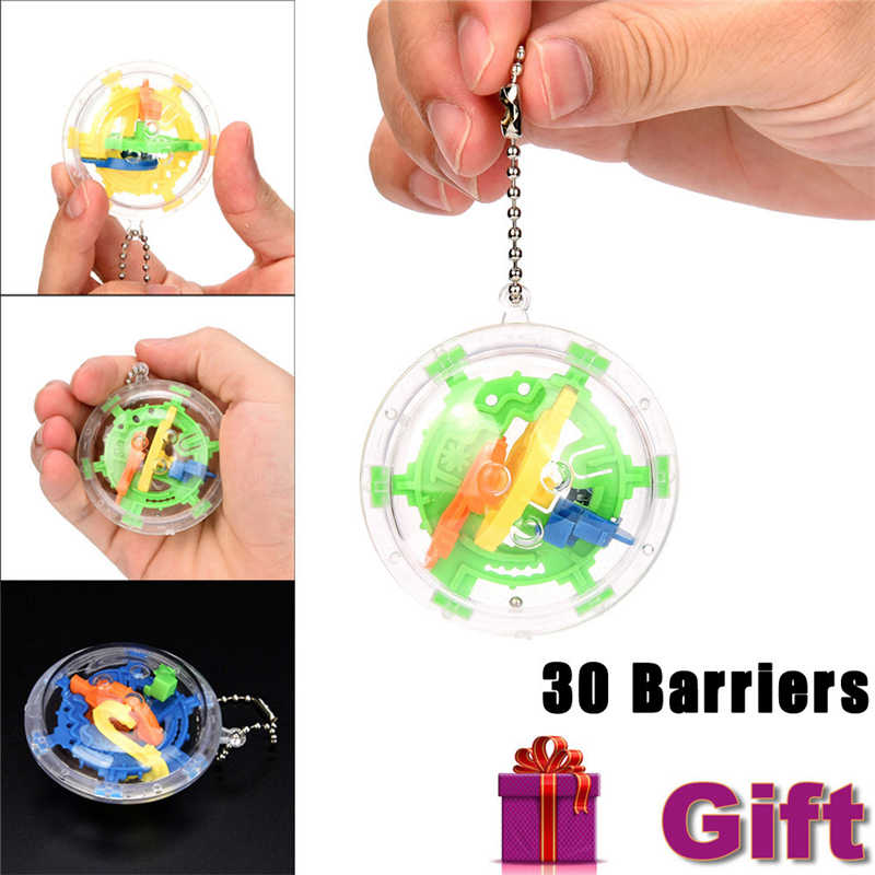 2018 High Quality 30 Barriers Mini Ball Maze Intellect 3d Puzzle Toy Balance Barrier Magic Labyrinth Spherica Drop Shipping