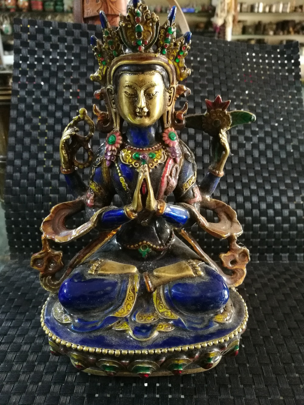 Old chinese Tibet Buddhist Guanyin statue of cloisonneOld chinese Tibet Buddhist Guanyin statue of cloisonne