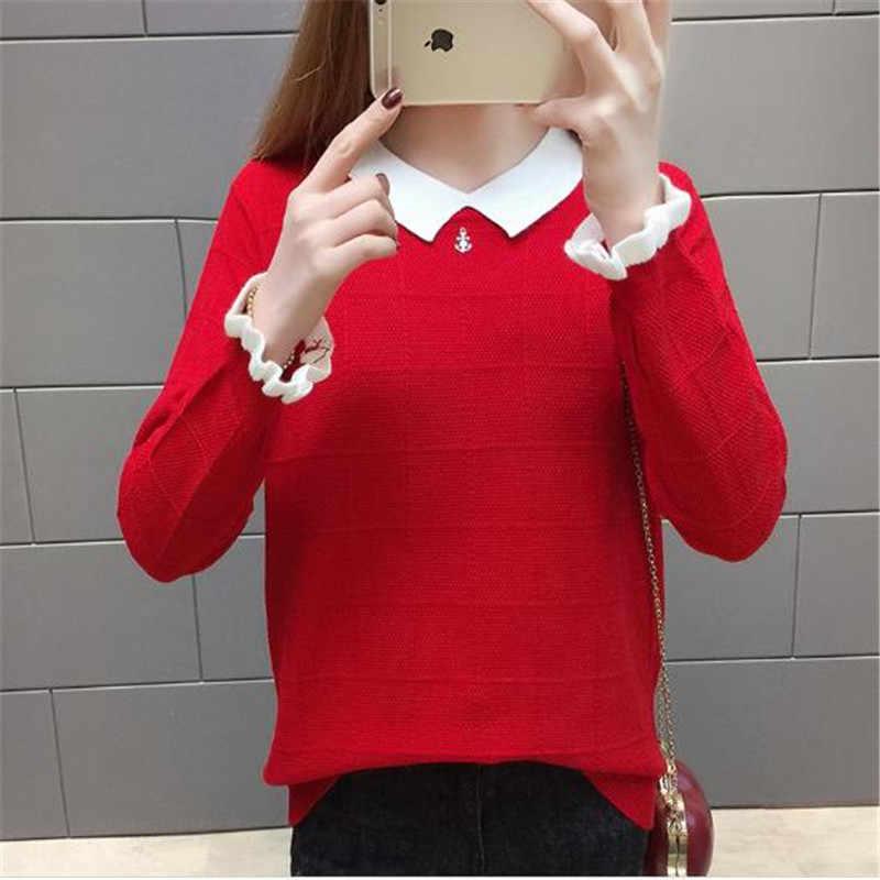 Новый женский пуловер свитер большой размер кукольный воротник вязаные топы осень короткая Студенческая Повседневная куртка с длинными рукавами свитер женский K0975