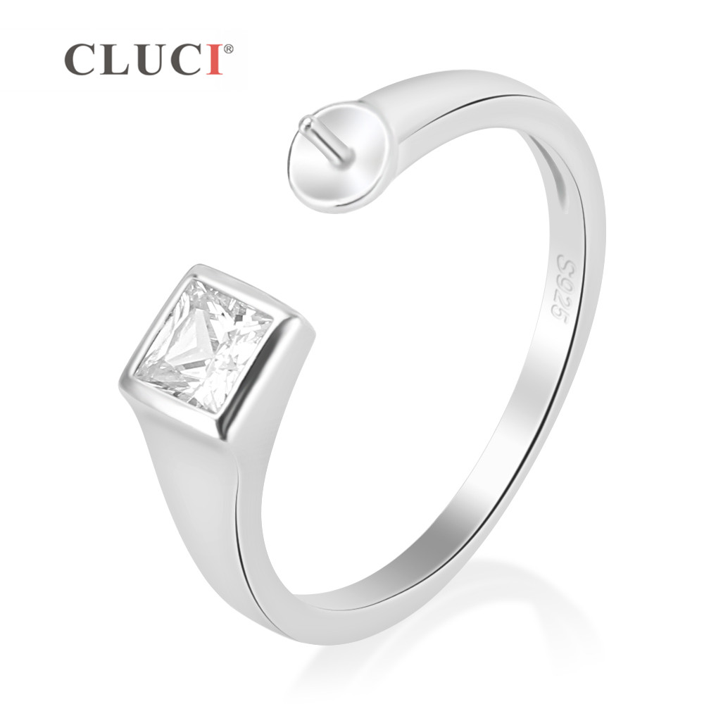 CLUCI Luxury Clear Crystal Wedding Ring Setting 925 Sterling Silver Fashion Retro Engagement Ring Jewelry Making For WomenCLUCI Luxury Clear Crystal Wedding Ring Setting 925 Sterling Silver Fashion Retro Engagement Ring Jewelry Making For Women