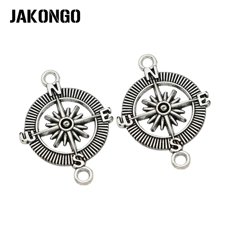 10 Ps Antike Silber Überzogene Kompass Anschlüsse Für Schmuck Herstellung Armband Erkenntnisse Zubehör Diy Handgemachte Handwerk 25mm Jade Weiß
