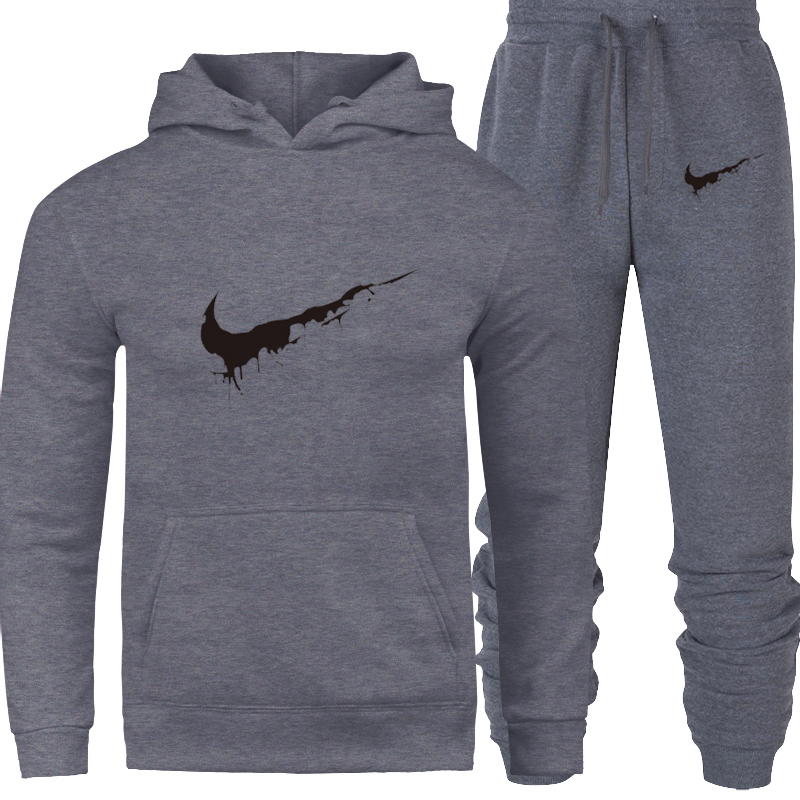 Men Sportswear Pant Sweatshirts Hoodies Tracksuit Jacket Fleece Male Winter Thicken Casual