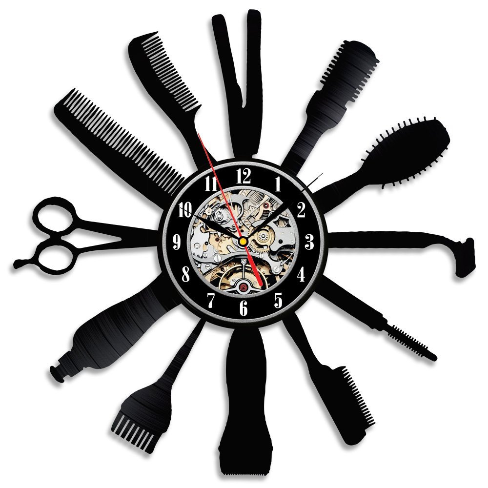 Creative Gift Idea For Barber Hair Salon Vinyl Wall Clock In Wall