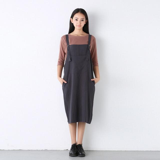 Lin Robe Salopette Vintage Mi Femmes Longue 2018 Printemps Eté Coton tqwxT684
