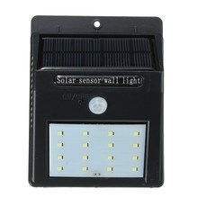 1.5W 2835 SMD LED Solar Light PIR Motion Sensor 16 LED Solar Power Outdoor Garden Light Security Wall Lamp Waterproof Pure White