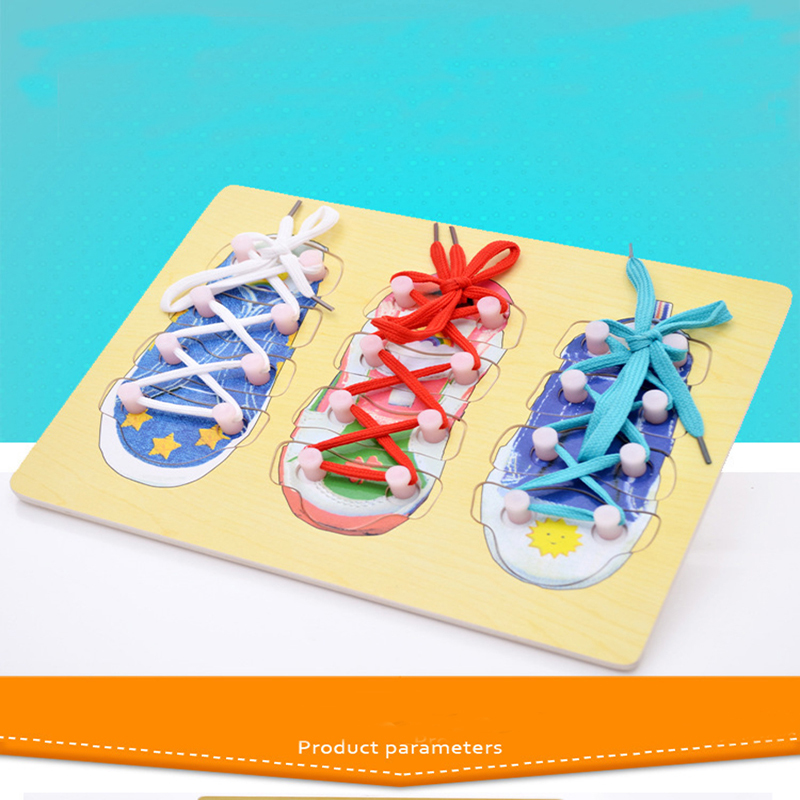 Shoelace Learn Tie Shoes Lace Teaching Toy Wooden Puzzles Kids Practical Ability Improve Board Education Montessori Toy