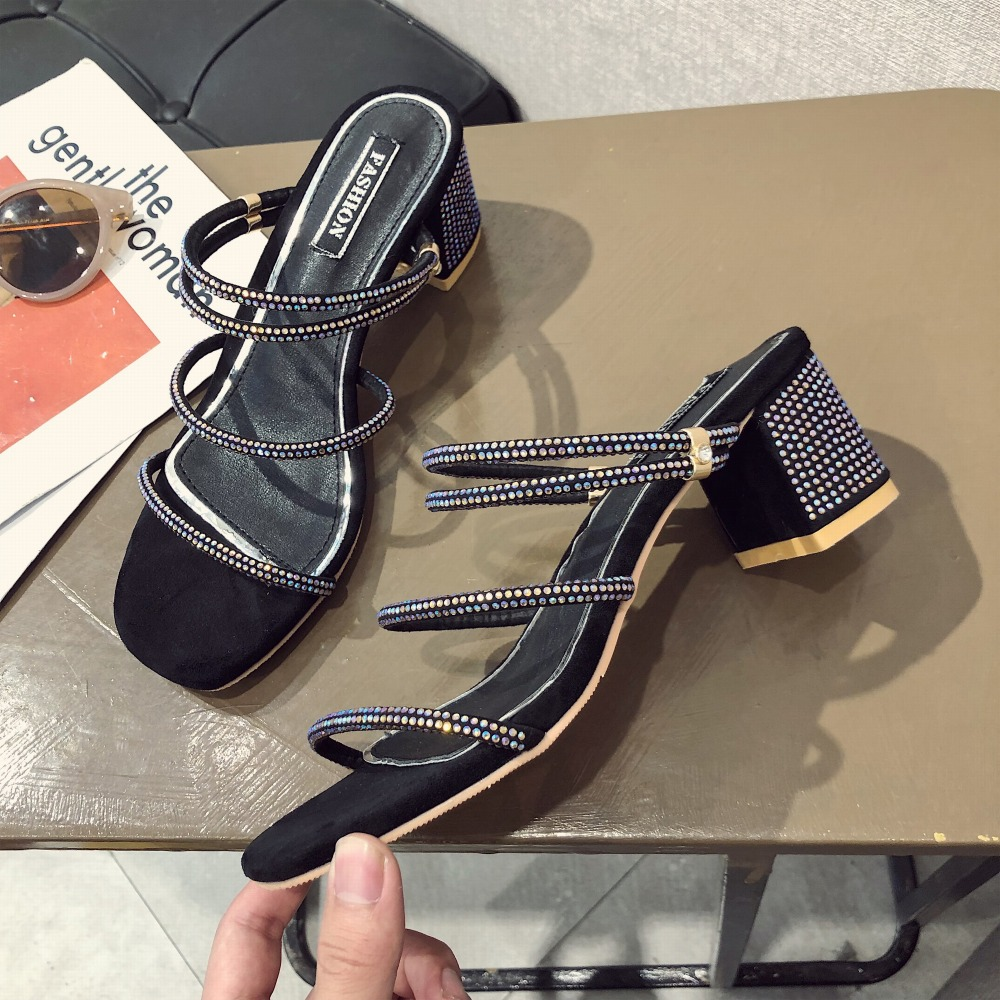 Fashion 2019 Shoes Women Open Toe Sandals Women Summer Shoes Bling Fashion High Heels Dress Sandals Heeled String Bead Sandals in High Heels from Shoes