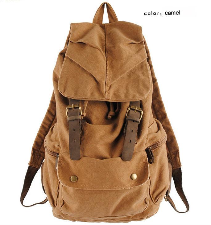 Fashion Vintage Leather military Canvas backpack Men s backpack school bag drawstring backpack women 2017 bagpack