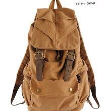 Модный винтажный кожаный военный холщовый рюкзак, мужской рюкзак, школьная сумка, рюкзак на шнурке, женский рюкзак, мужской рюкзак