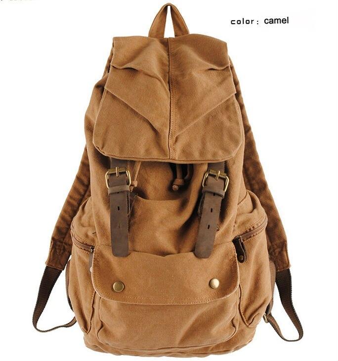Vintage Leather military Canvas backpack Men's backpack school bag drawstring backpack 2016 bagpack rucksack van mochila escolar