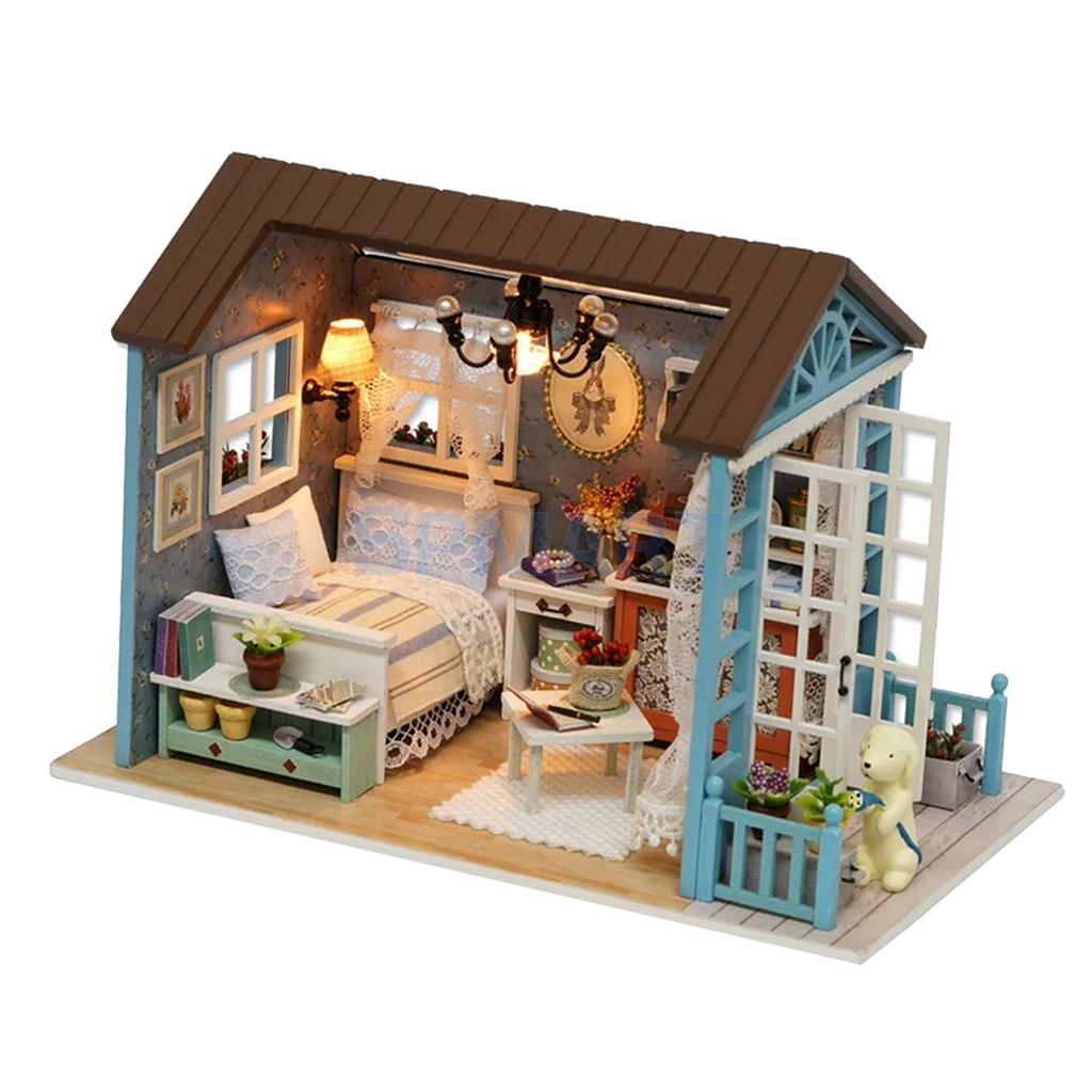 New Kits DIY Miniature Dollhouse with Furniture Set and Dust Cover Doll Room Decor Kids Toy Gift
