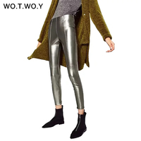 WOTWOY Pantalones Ajustados Pantalones de Cuero Otoño de Las Mujeres de LA PU de Cuero de Alta Calidad Cremalleras Laterales 2017 Plata Negro Lápiz Pantalones de Cintura Alta
