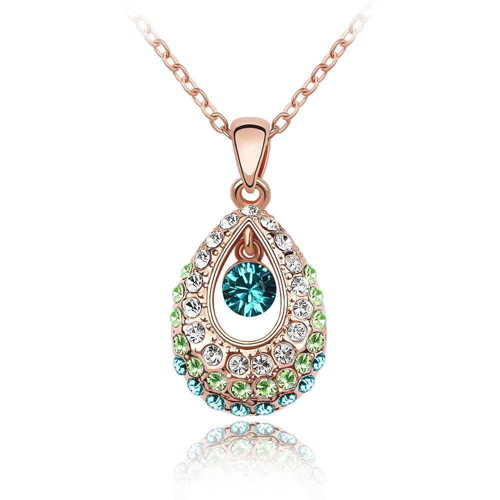 High Quality Crystal Drop Necklace Made with Austrian ELements Rose Gold Color Chain Neckless Girl Gifts Jewelry