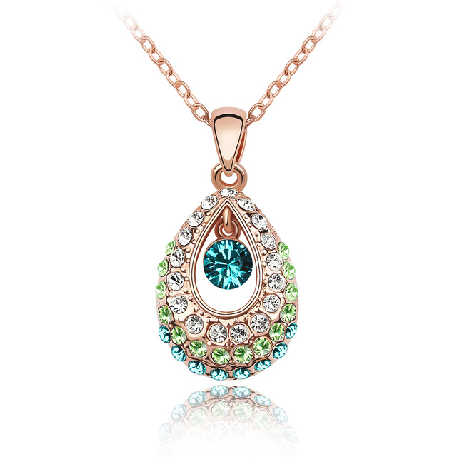 High Quality Crystal Drop Necklace Made With Austrian