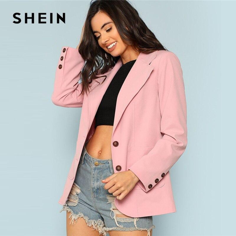 SHEIN Rosa Elegante Senhora Do Escritório Frente Patch Bolso Único Breasted Sólida Minimalista Longline Blazer 2018 Outono Nova Mulheres Outwear