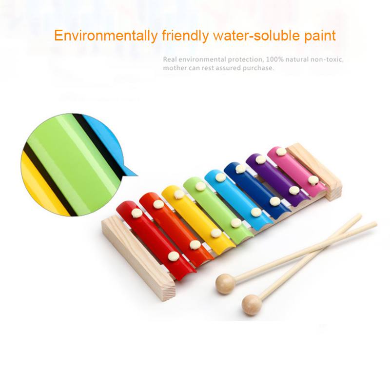 Wooden Xylophone Musical Instrument 8 Tones Toys Multicolor For Children Kids Baby 19ing