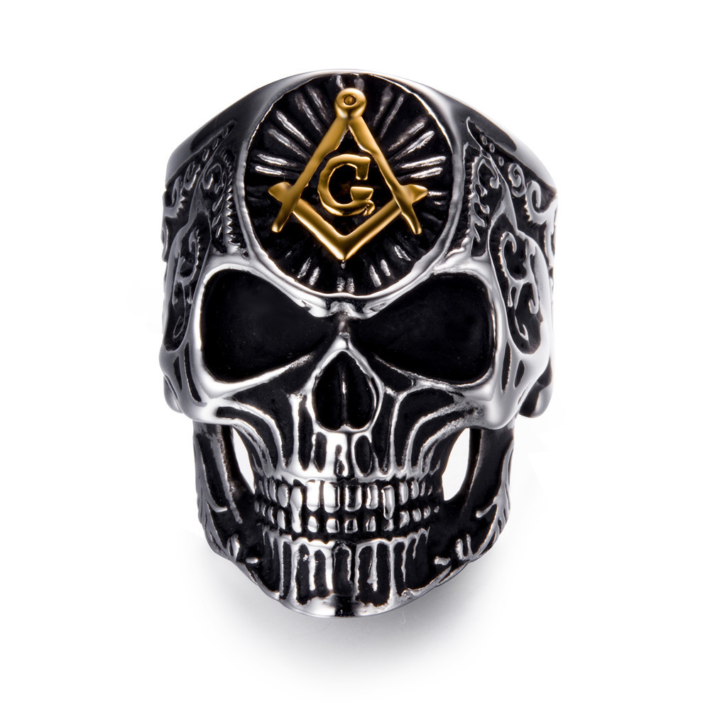 Cristal de Calidad Anillo De Calavera Rock Punk Gótico Motorista Joyería-Oro Plata Negro
