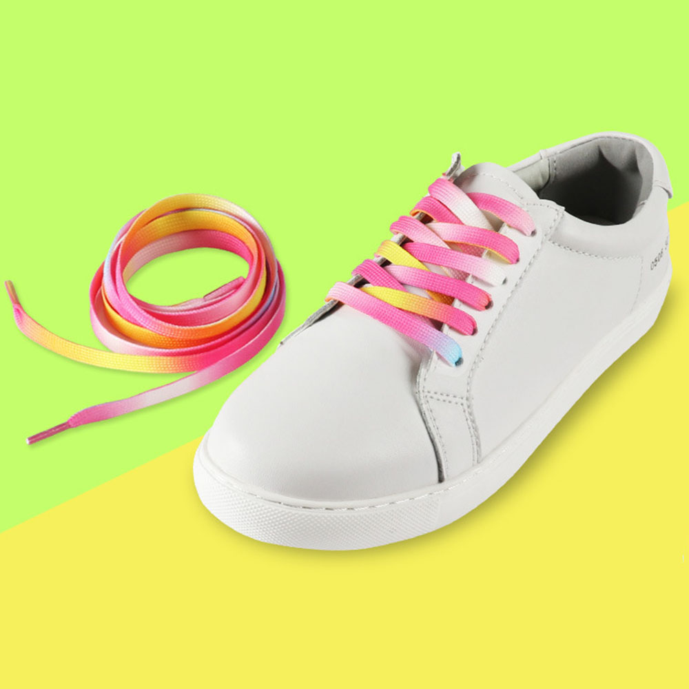 1pair 120cm Gradient Rainbow Pink Flat Shoelace Sports Casual Shoes Laces Sneaker Boots Shoe Strings Free Shipping Hot 2018 flat laced letter nice men s sports shoes fashion casual shoes black and white shoelace 120cm
