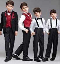 Джентльмен мальчики официальный пиджак костюмы 5 шт. пальто + брюки + жилет + перевязка + ремень костюм свадьба день рождения дети мальчик комплект