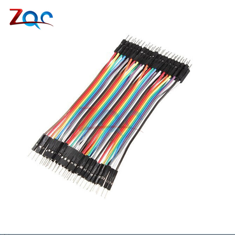 цена на 40PCS 10CM 2.54MM Row Male to Male Dupont Cable Breadboard Jumper Wire For arduino