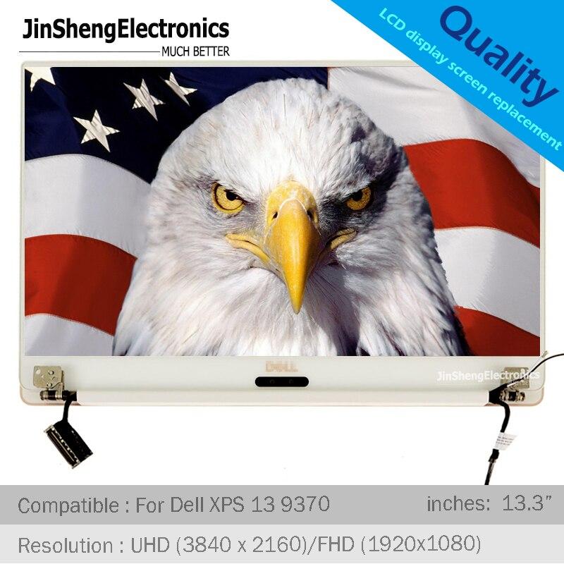 """Pour Dell XPS 13 9370 13.3 """"UHD FHD LCD écran d'affichage couverture arrière charnières écran tactile numériseur assemblée argent/or Rose"""