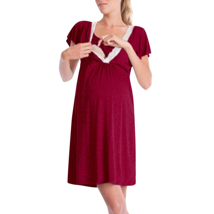 5-MB Fashion Womens Pregnants Nursing Baby For Maternity Stripe Sexy Mini Dress