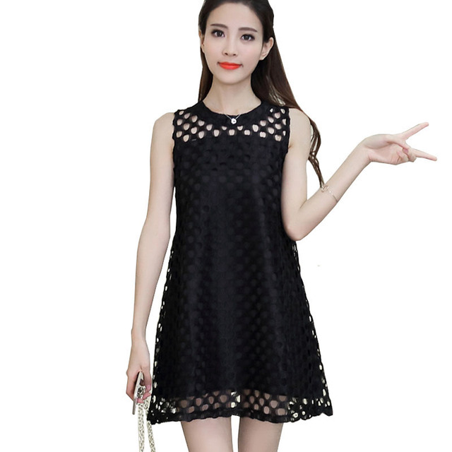 Korean Style Women Swing Dress Cute Sleeveless Hollow Out Lace Mini Dress  Kawaii Petite Dress To 4ac116683d8a
