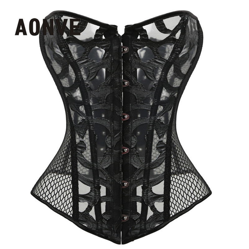 Women   Corsets   And   Bustiers   Lace Summer Mesh   Corset   Hollow Out Breathable Body Shapewear Straitjacket Sexy Top Gothic Corselet