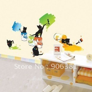 The cat to brush paint Wall paper lovely decal removable stickers Free shipping
