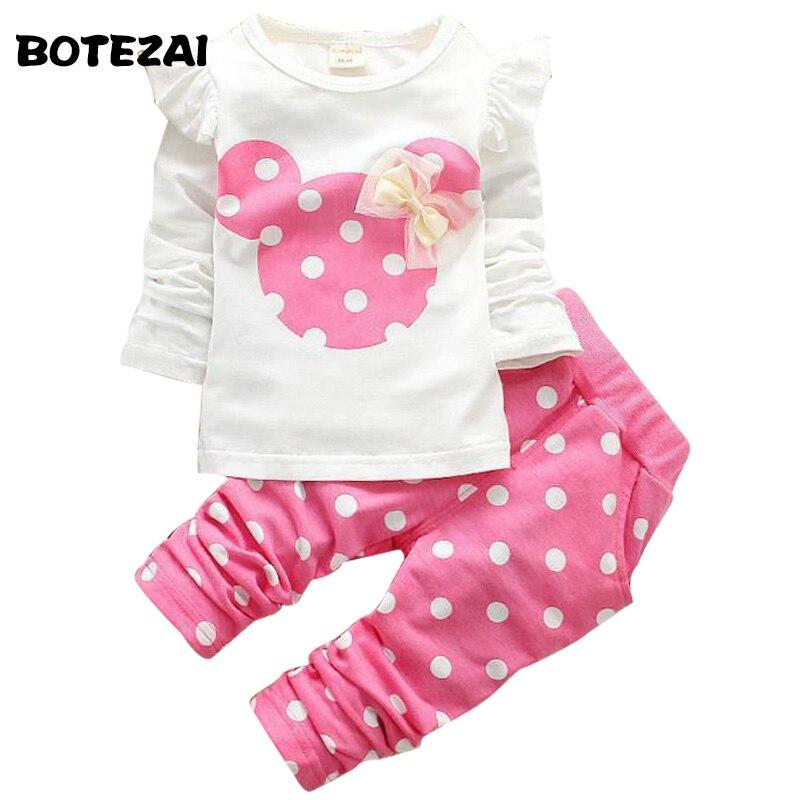 Новые модные комплекты одежды для девочек Минни хлопковая детская одежда бант майки футболка + лосины для маленьких детей 2 шт. в наборе в ро...