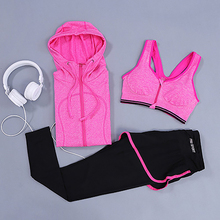 YD New Women yoga set 3Piece Running Suits (Jacket+Pants+Bra) Fitness Gym Tracksuit Clothing Quick Dry Sports Suit