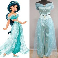Adult Girl Aladdin S Lamp Jasmine Costume Dresses In Indian Princess Costumes For The Halloween Party