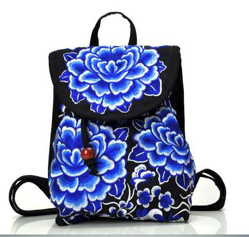 2b091085eb48 US $11.69 32% OFF|National trend canvas embroidery Ethnic backpack women  handmade flower Embroidered Bag Travel schoolbag backpacks mochila-in ...